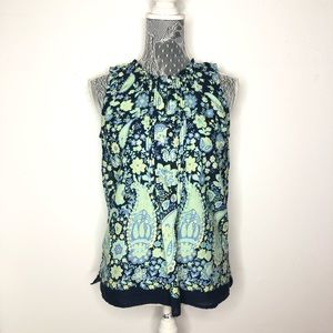 Talbots Blouse Blue Green Paisley Floral Top Small